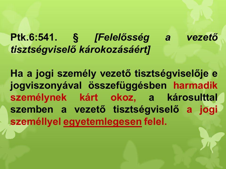 Ptk.6:541. § [Felelősség a vezető tisztségviselő károkozásáért]